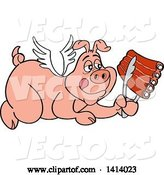 Vector of Bbq Winged Angel Pig Flying and Holding Spare Ribs in Tongs by LaffToon