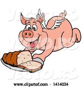 Vector of Bbq Winged Pig Flying and Holding out a Brisket by LaffToon