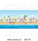 Vector of Beachfront Buildings Scene with Ocean and Blue Sky by Holger Bogen