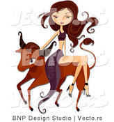 Vector of Beautiful Aquarius Taurus Girl Riding a Bull by BNP Design Studio
