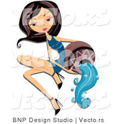 Vector of Beautiful Aquarius Zodiac Girl Pouring Water by BNP Design Studio