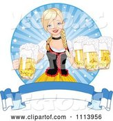 Vector of Beautiful Blond Oktoberfest Bar Maiden with Beer over a Banner by Pushkin