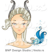 Vector of Beautiful Capricorn Girl's Face with Horns and a Tail on Her Head by BNP Design Studio