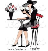 Vector of Beautiful French Lady Reading a Book at a Bistro Table by Pams Clipart