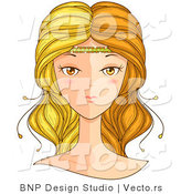 Vector of Beautiful Gemini Girl's Face by BNP Design Studio