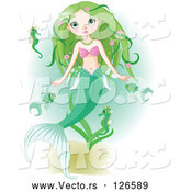 Vector of Beautiful Green Haired Mermaid Swimming with Fish and Seahorses by Pushkin