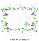 Vector of Beautiful Green Vines Frame with Butterflies by Bpearth