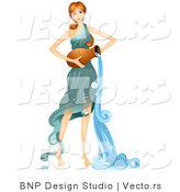 Vector of Beautiful Horoscope Aquarius Girl Pouring Water by BNP Design Studio