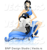 Vector of Beautiful Horoscope Capricorn Girl Petting a Sea Goat by BNP Design Studio