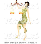 Vector of Beautiful Horoscope Libra Girl Carrying a Scale by BNP Design Studio