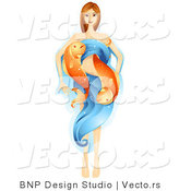 Vector of Beautiful Horoscope Pisces Girl with Water and Fish by BNP Design Studio