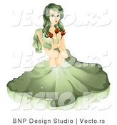 Vector of Beautiful Horoscope Virgo Girl Sitting and Holding Flowers by BNP Design Studio