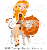 Vector of Beautiful Leo Zodiac Girl Leaning Against a Lion by BNP Design Studio