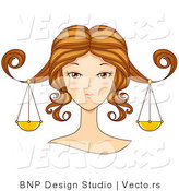 Vector of Beautiful Libra Girl's Face with Scales Hanging from Her Hair by BNP Design Studio