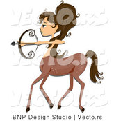 Vector of Beautiful Sagittarius Zodiac Girl Centaur by BNP Design Studio