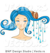 Vector of Beautiful Scorpio Girl's Face with Water Dripping from Her Hair by BNP Design Studio