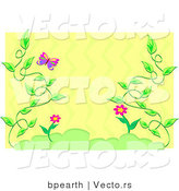 Vector of Beautiful Vines Border Frame with a Butterfly over Yellow by Bpearth