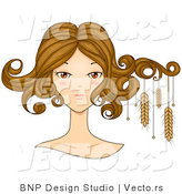 Vector of Beautiful Virgo Girl's Face with Wheat Hanging from Her Hair by BNP Design Studio