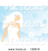 Vector of Beautiful White Haired Lady in a White Dress, Wearing a Blue Flower in Her Hair and Standing over a Blue Floral Background by KJ Pargeter