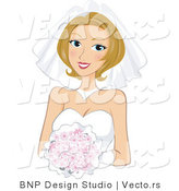 Vector of Beautiful Young Bride Wearing Gown While Holding a Flower Bouquet by BNP Design Studio