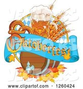 Vector of Beer Keg, Mug Wheat and Soft Pretzel with an Oktoberfest Banner by Pushkin
