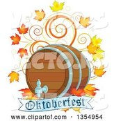 Vector of Beer Keg with Autumn Leaves and Swirls over an Oktoberfest Banner by Pushkin