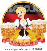 Vector of Beer Maiden with Oktoberfest Beer over a German Flag by Pushkin