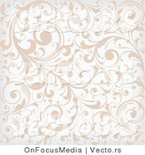 Vector of Beige and White Background Pattern with Leafy Vines by OnFocusMedia