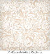 Vector of Beige and White Vines Background Pattern with Flourishes by OnFocusMedia