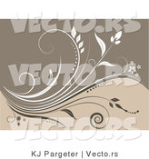 Vector of Beige Floral Vines Background by KJ Pargeter