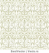 Vector of Beige Flowers with Vines - Seamless Digital Background by BestVector