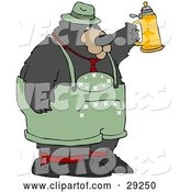 Vector of Big Oktoberfest Bear in Green, Holding up a Beer Stein by Djart