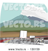 Vector of Big Rig Truck Driving in the Slow Lane Behind Other Trucks Through the Mountain Pass on the Highway by David Rey