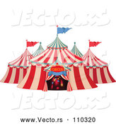 Vector of Big Top Circus Tent with Lights in the Entrance by Pushkin