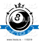Vector of Billiards Eight Ball with a Crown and Banner by Vector Tradition SM