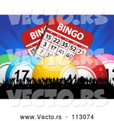 Vector of Bingo Balls and Giant Cards with Blue Rays over a Silhouetted Cheering Crowd by Elaineitalia