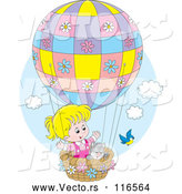 Vector of Bird by a Cat and Blond Girl in a Hot Air Balloon by Alex Bannykh