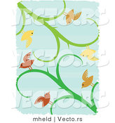 Vector of Birds on Vines over Blue with White Grunge Borders by Mheld