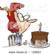 Vector of Birthday Lady with Candle on a Birthday Cake by Toonaday