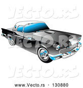 Vector of Black 1955 Ford Thunderbird Car with a White Removable Fiberglass Top and Chrome Accents by Andy Nortnik