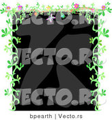 Vector of Black and Gray Background Bordered with Green Floral Vines and Flowers by Bpearth