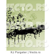 Vector of Black and Green Floral Vines with Grunge - Digital Background by KJ Pargeter
