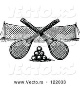 Vector of Black and White Crossed Tennis Rackets over Balls and a Net by Prawny Vintage