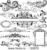 Vector of Black and White Design Elements Frames and Flourishes by OnFocusMedia