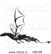 Vector of Black and White Dragon Tattoo Design by Dero