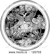 Vector of Black and White Dragons Entwined over a Medallion of Smoke by Picsburg
