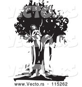 Vector of Black and White Dryad Tree Spirit by Xunantunich