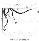 Vector of Black and White Floral Corner Border Design Element Version 1 by MilsiArt