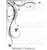 Vector of Black and White Floral Corner Border Design Element Version 3 by MilsiArt