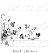 Vector of Black and White Floral Corner Border Design Element Version 4 by MilsiArt
